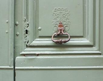 Paris Photography, Mint Green Doorway, Hemlock, Spring Green, Easter, Door Photography, Paris Green Wall Art