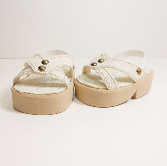 """18"""" Doll Shoes Sandals fit American Girl Dolls Ivory Cream Egg Shell"""