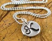 Monogrammed Necklace Personalized Script Initial Necklace Silver Mothers Necklace Fine Silver PMC Artisan Pendant