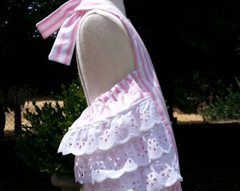 Ruffled Bottom Bubble Romper Sunsuit  in Pink Stripes for Baby Girls