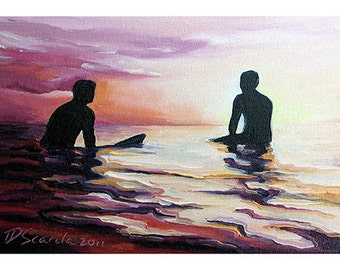 5x7 Greeting Card by Daina Scarola, Item #GC5X7-16 (two surfers, dusk, sunset, silhouettes)