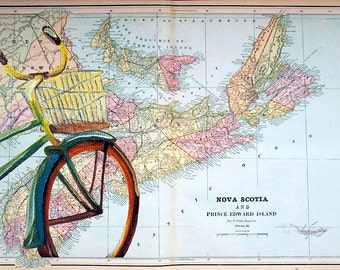 5x7 Greeting Card by Daina Scarola, Item #GC5X7-33 (Nova Scotia map, bike, bicycle, collage)