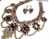 Rhinestone purple pink vintage Husar D.Czech bib with new firepolished glass beads handmade necklace set, one of a kind