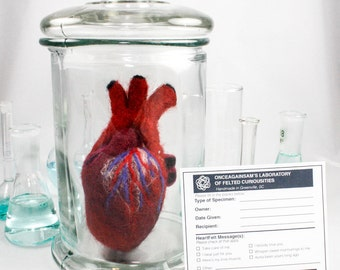 Felted Anatomical Heart (Human-Scale) with Apothecary Jar & Personalized Specimen Label