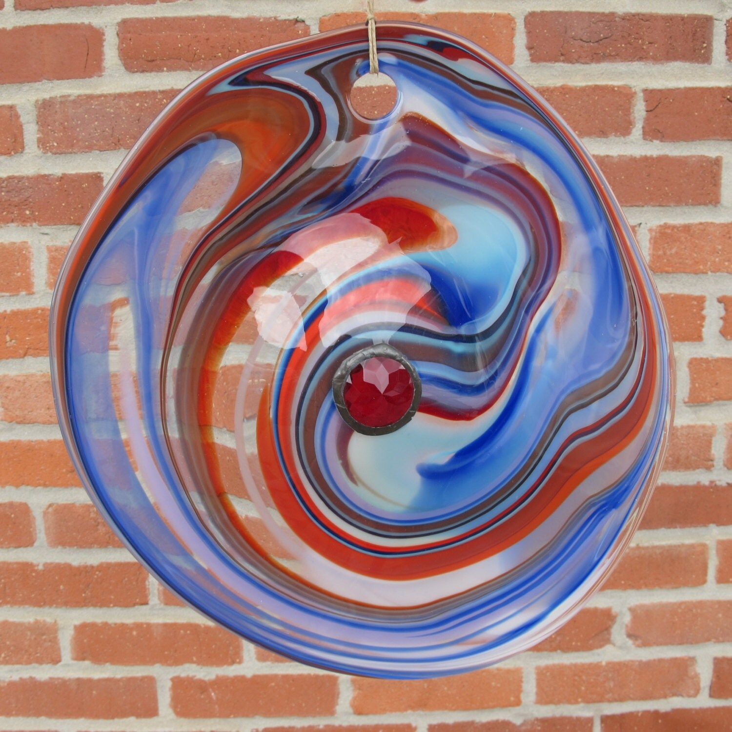 Red White And Blue Blown Glass Rondel With Red Jewel In The