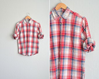 SALE / vintage '80s/'90s red, white & blue spring PICNIC PLAID long sleeve button-up shirt. size l.