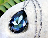 Dark Skies Necklace - deep blue Montana sapphire Swarovski crystal stone, gunmetal black chain - free shipping USA