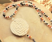 Native Style Pottery Necklace, Corn Bead Necklace, Handcrafted Jewelry, Handcrafted Pendant Necklace, Pow Wow Jewelry