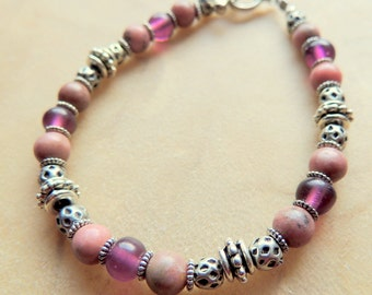 Rhodonite and Amethyst with Silver Bracelet, Pink and Purple Gemstone Bracelet, Boho Jewelry