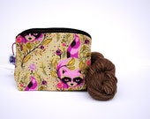Zippered NOTIONS BAG with zipper pull - Talula Raccoon