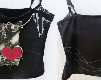 Black Tank Top with Girl and Heart