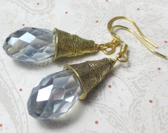 Smokey Blue crystal teardrop with gold plated bell cap dangle earrings, classic, shiny, holiday earrings, elegant crystal earrings