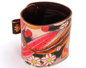 Leather cuff / wallet wristband - Tattoo Cherry Blossom and Feathers