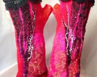 Fingerless  merino wool red , hot pink, black, gold ladies gloves, felted gloves, mittens, nunofelted wrist warmers