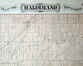 1878 Large Rare Vintage Map of Haldimand Township, Ontario, Canada - Handcolored