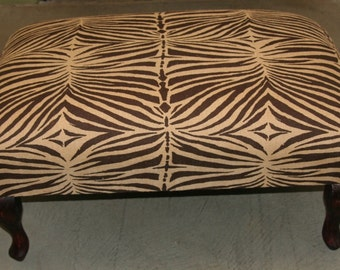 Vintage African Zebra Print Bench/Ottoman/Coffee Table