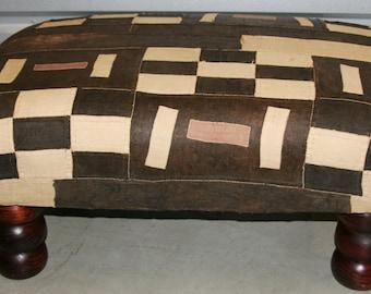 African Kuba Bench/Coffee Table/Ottoman With Vintage Kuba Cloth
