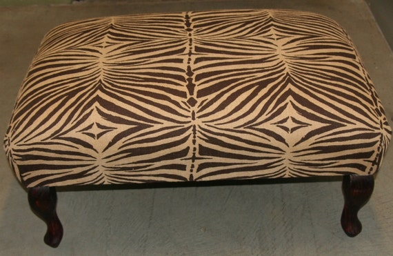 Vintage African Zebra Print Bench Ottoman Coffee Table