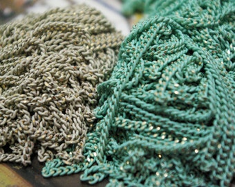 shiny mint and white chains(2mm)