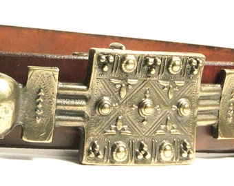 Beautiful black cherry handmade belt w/ 'Antique' brass buckle