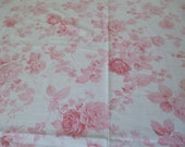 Pink and White Roses Floral Vintage Full Flat Sheet Cutter Free Shipping