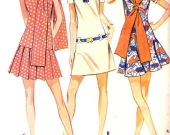 McCall's 2310 Vintage 1970 Retro Mini Jumper Dress or Skirt & Top Ensemble Pattern -  Misses Size 12 - Bust 34 - Precut