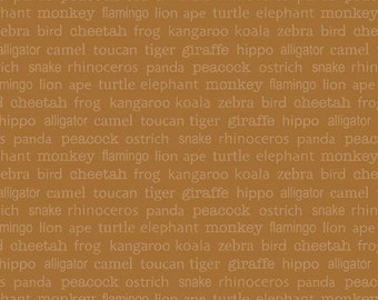 COUPON Sale - Riley Blake, Zoofari, Organic Cotton, Words, Brown, 100% Cotton Quilt Fabric, Tonal Brown, Quilting Fabric, SELECT A SIZE
