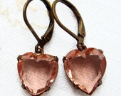 Bridesmaid Gift - Heart Earrings - Romantic Jewelry - Gifts for Her Under 25 - HEARTSONG Peach
