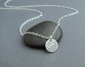 """silver circle necklace - simple silver necklace. delicate. dainty. tiny. sterling. hammered disc pendant. 3/8"""". layering. ready to ship gift"""