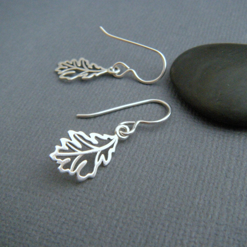 silver leaf earrings small sterling silver dangles tiny
