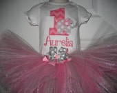Personalized Hot pink and Gray Birthday Elephant tutu set