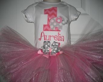 Baby girl elephant tutu set, circus tutu set, hot pink chevron, cake smash outfit, birthday outfit