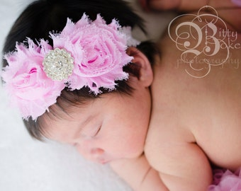 Baby headband....SALE PRICED...ReadY to Ship...Shabby Chic Collection...YOur Choice of Headband....Newborn Collection...Headba