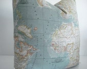 GIFT PILLOW-World Map  Decorative Designer Pillow Cover- Novelty -World Map Throw /Lumbar Pillow -Blues/ Yellow/ Green/ Ivory/Pink