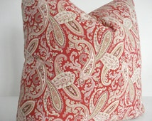 BOTH SIDES--Paisley-Decorative Designer Pillow Cover-- Red Paisley Throw Pillow- Red-Tan -Ivory- Khaki