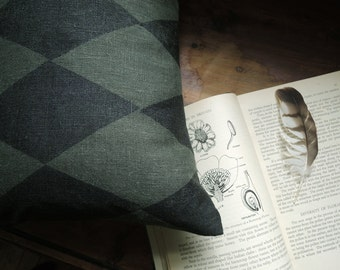 Black Forest Harlequin Hand Printed Linen lumbar decorative pillow case