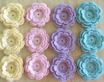 12 Crochet Flower Appliques, Pastel Three-Layer Flowers