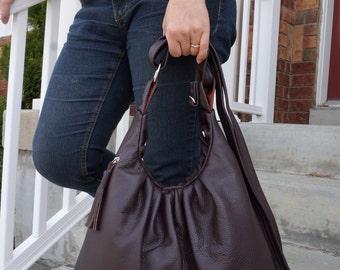 Mahogany Brown Leather bag, Convertible Backpack purse, messenger bag, 3 way travel bag, shoulder tote, handbag with tassel