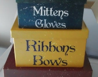 Primitive Stacking Christmas Boxes--Mittens--Bows--Bells--Ready To Ship