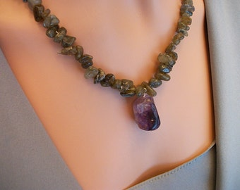 Natural Purple Amethyst Stone Necklace With Labradorite Stone  NSD1401A - Dune Glass with Free Shipping In the USA
