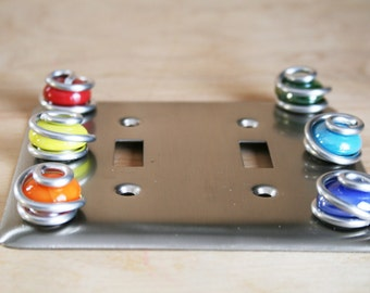 Double Switch Plate Cover/Brushed Nickel/Electric Colorful Glass/Decorative Switch Plate Decor/Unique Home Decor/Double Switch Plate Cover
