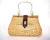 1960s handbag vintage 60s large wicker light brown picnic purse