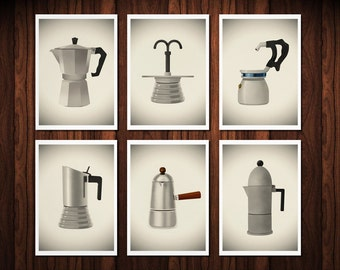 Set of Six prints Vintage Italian coffee makers 8 x 11.5 kitchen home decor coffee lovers