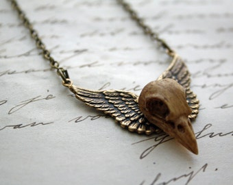 Resin Bird Skull Necklace Winged Wings Necklace - Gothic Death Raven Crow Bird Resin Brass Necklace Morbid Cameo