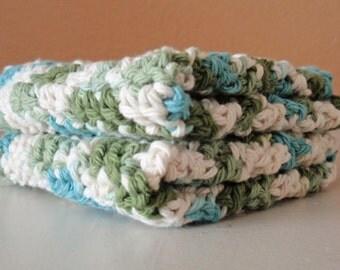 SUMMER SALE - Crochet Washcloths - Handmade Emerald Green Scrubbie Cloths, Eco Friendly Cleaning Cloth, 100% Cotton Washcloths, SET of 2