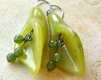 Jade Earrings, Calla Lilly Dangle Earrings, Green Drop Earrings