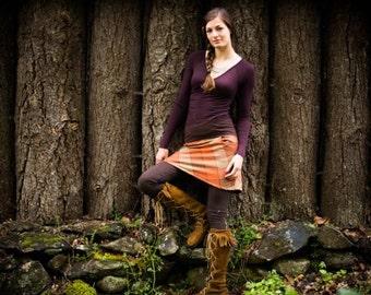 Checker Mallow Mini Skirt/ Pendleton wool hemp and Organic Cottona