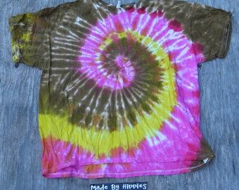 Bronze, Pink and Yellow Spiral Tie Dye T-Shirt (Jerzees Size 3XL) (One of a Kind)