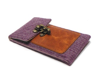 iPhone 5 / 6 / 6 Plus wallet  - plum herringbone