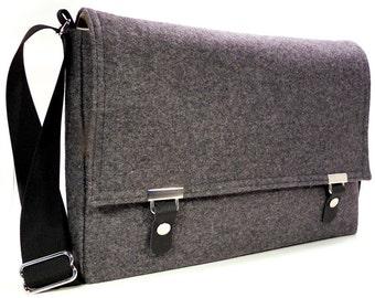 "13"" / 15"" / 17"" MacBook Pro messenger bag - gray wool tweed"